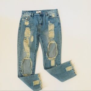 High Waisted Destroyed Skinny Jeans Size 13